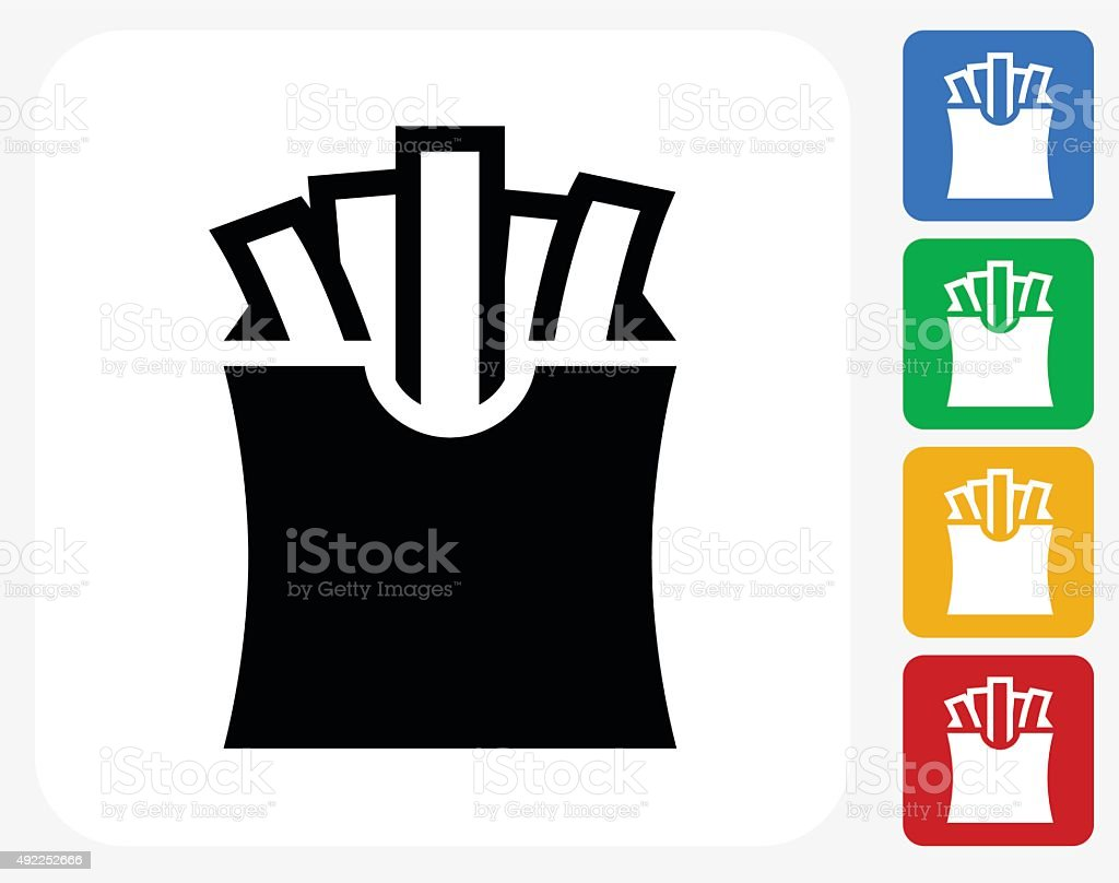 French Fries Icon Flat Graphic Design vector art illustration