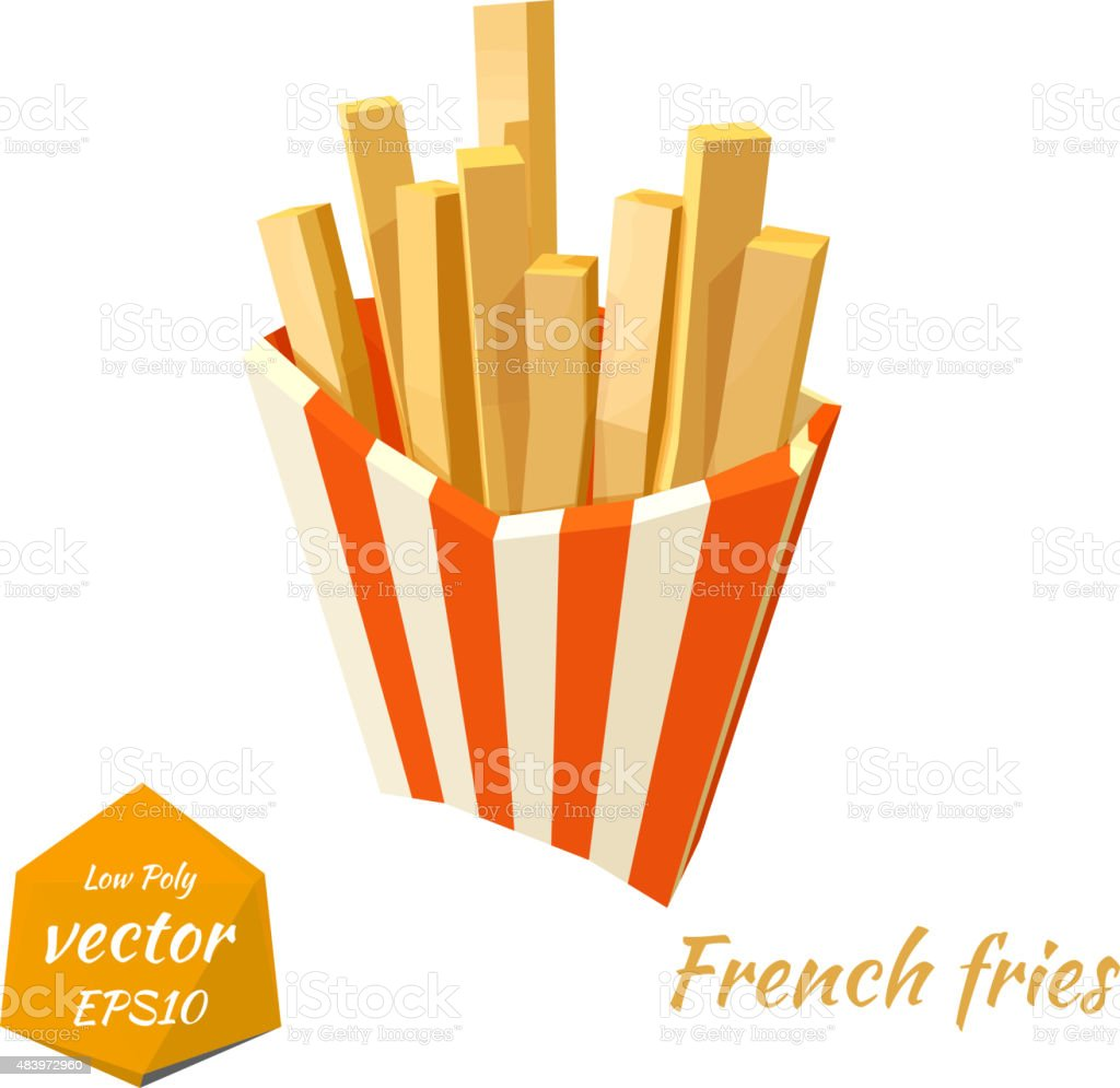 French fries in a red box on white background, isolate vector art illustration
