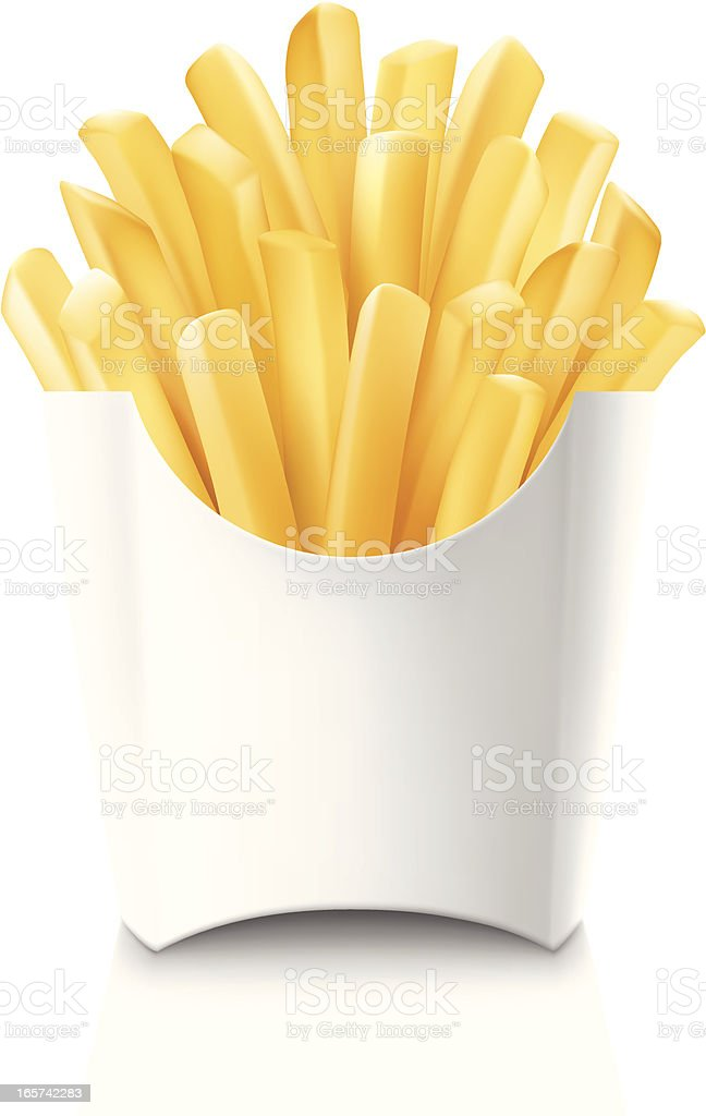 French fries in blank white cardboard container royalty-free stock vector art