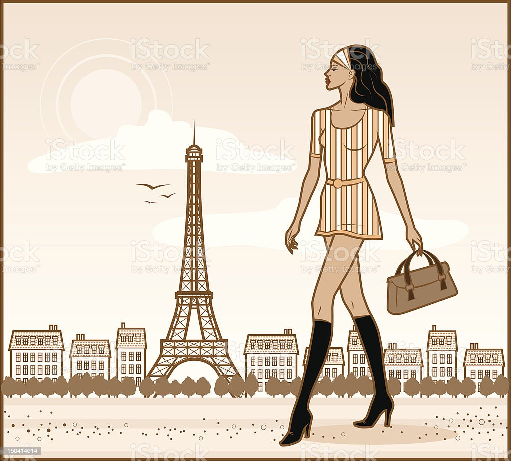 French Girl royalty-free stock vector art