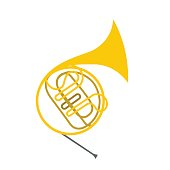 French horn flat icon
