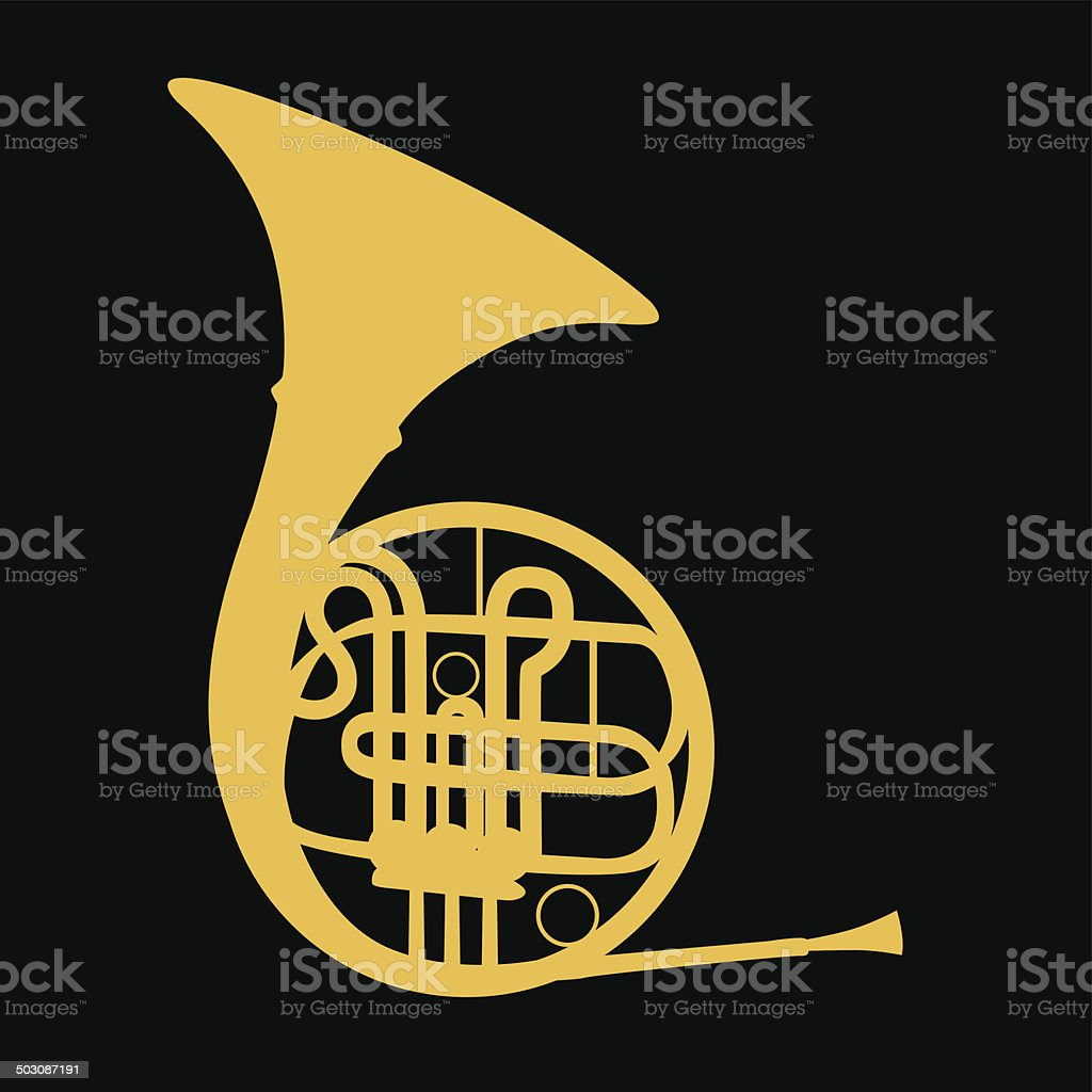 French Horn- Vector royalty-free stock vector art