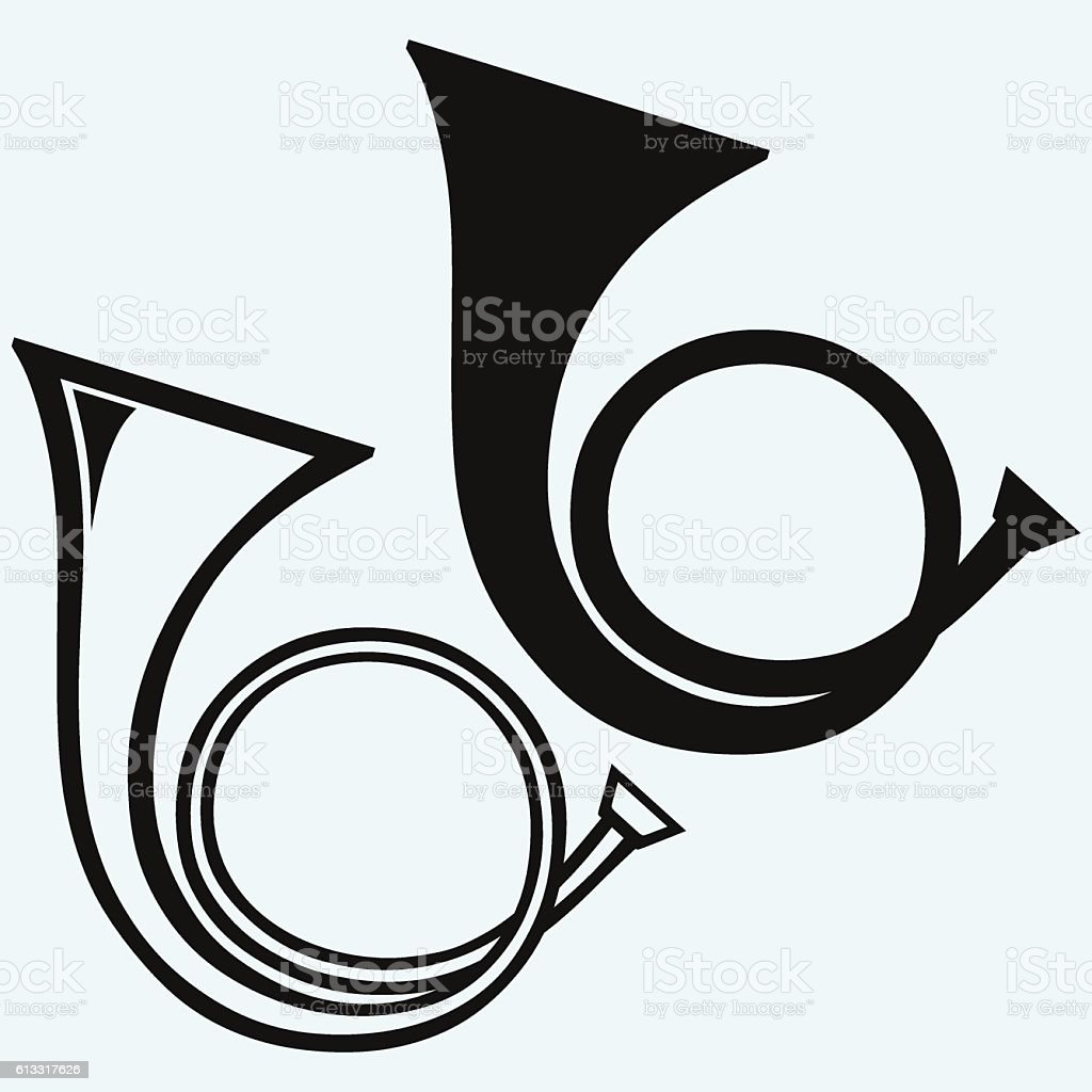 French horn, wind musical instrument vector art illustration