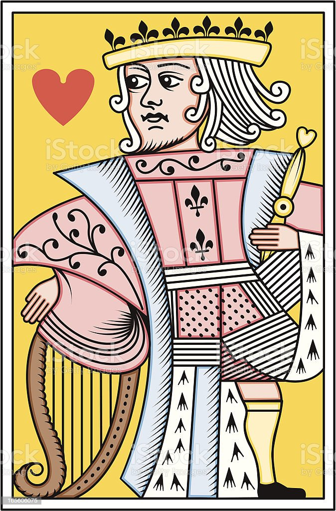French King of Hearts playing card royalty-free stock vector art
