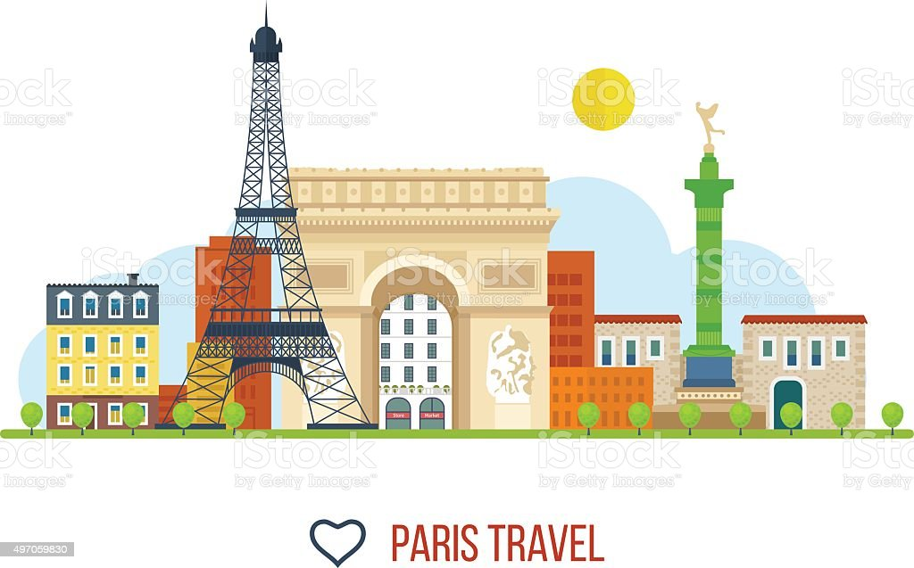 French Landmarks. Eiffel tower, Notre Dame in Paris, France vector art illustration