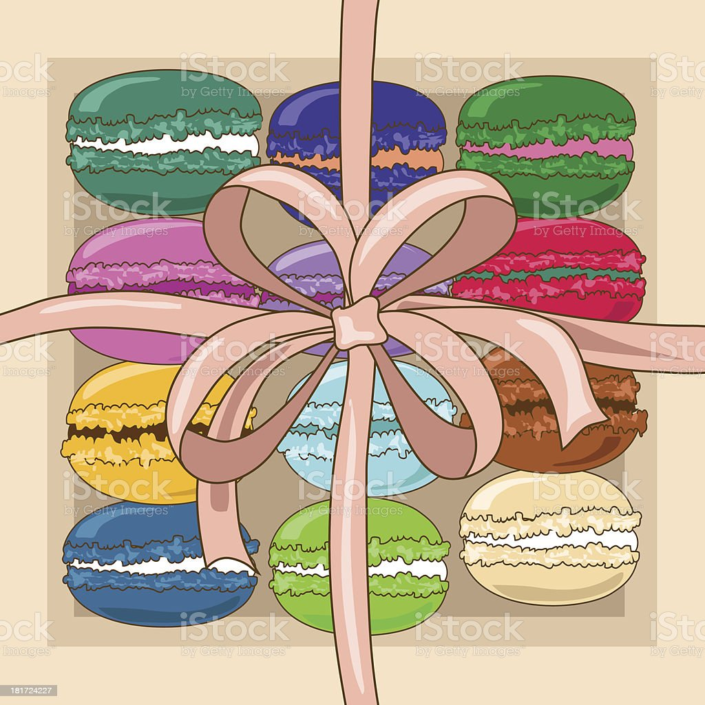 French macaroons in a gift box royalty-free stock vector art