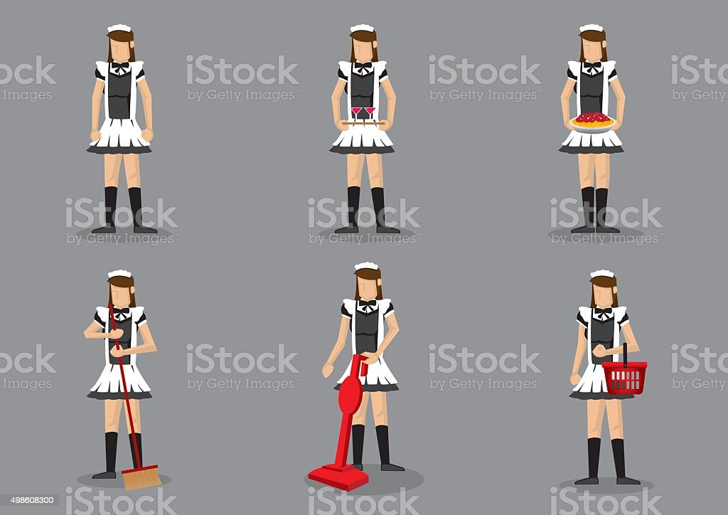 French Maid Vector Character Set vector art illustration
