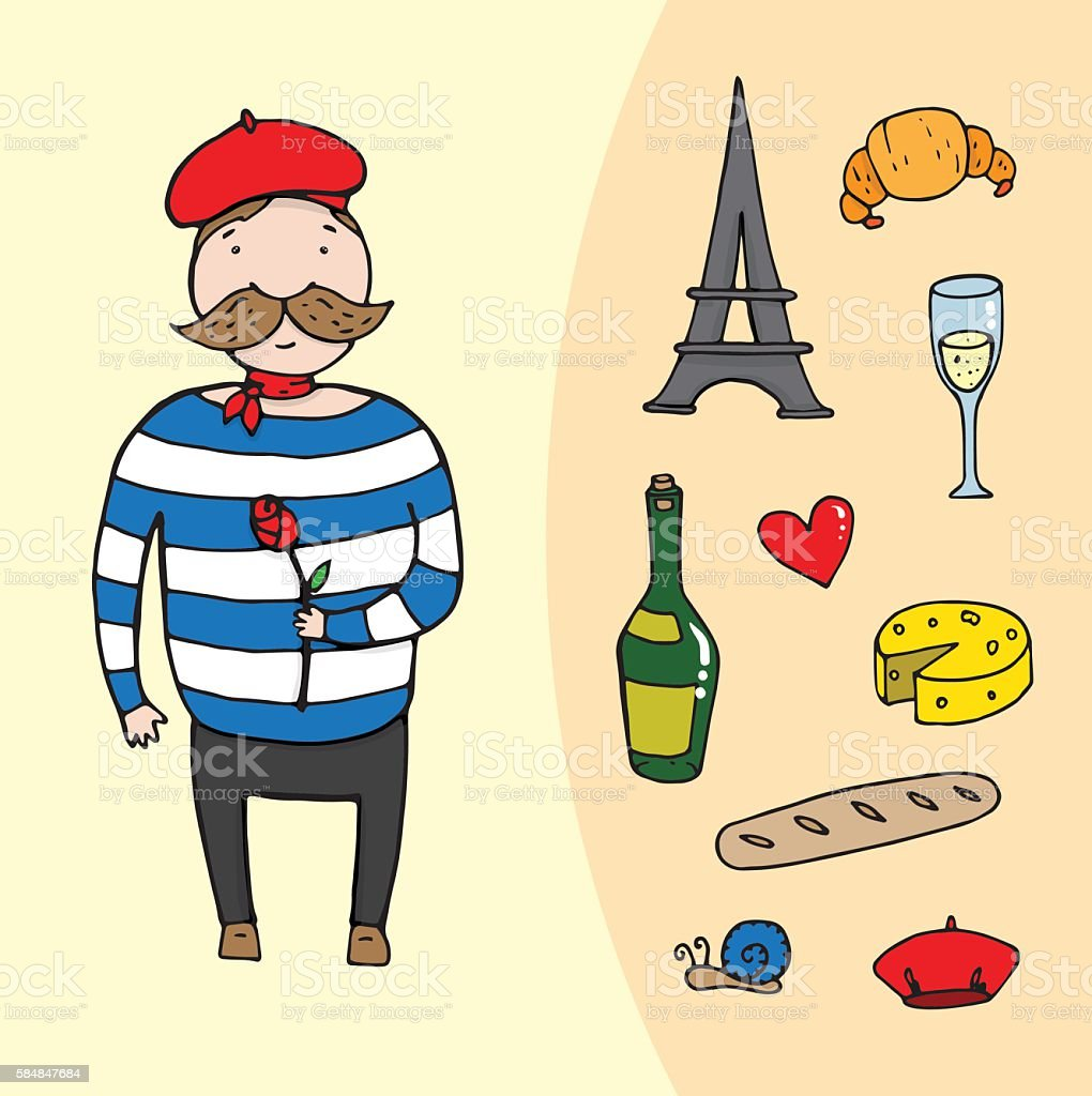 french man with a rose and set of french elements vector art illustration