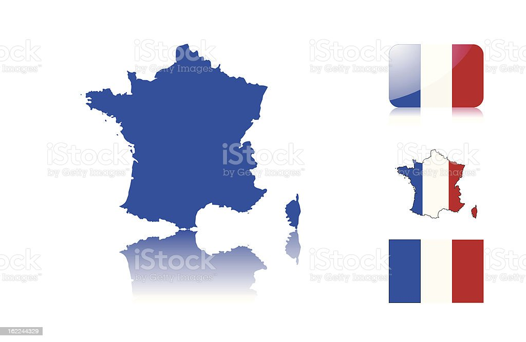 French map and flags royalty-free stock vector art