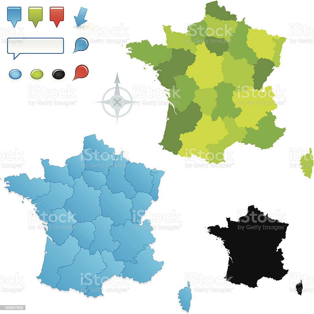 French map with regions vector art illustration