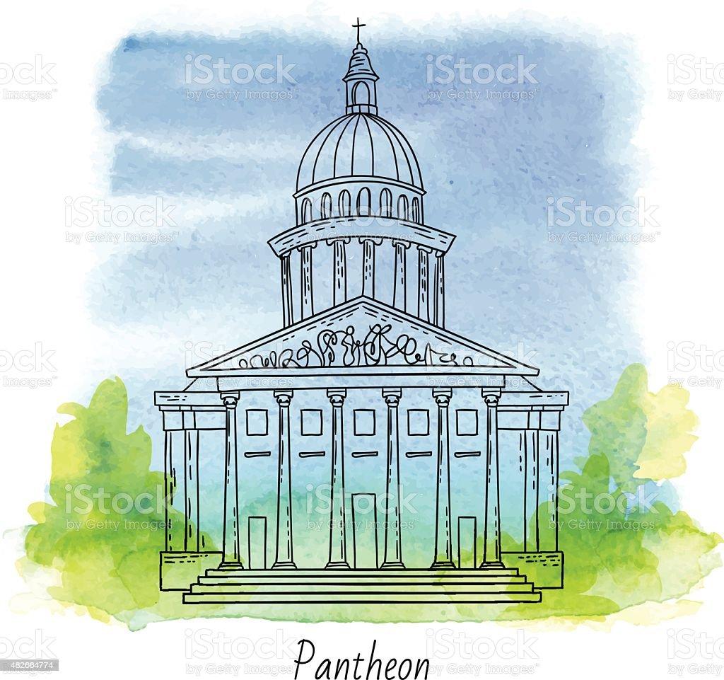 French pantheon vector art illustration