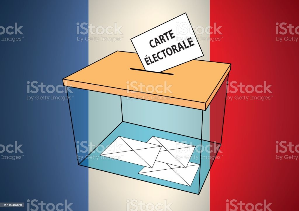 French presidential election carte electorale ballot box with some votes vector art illustration