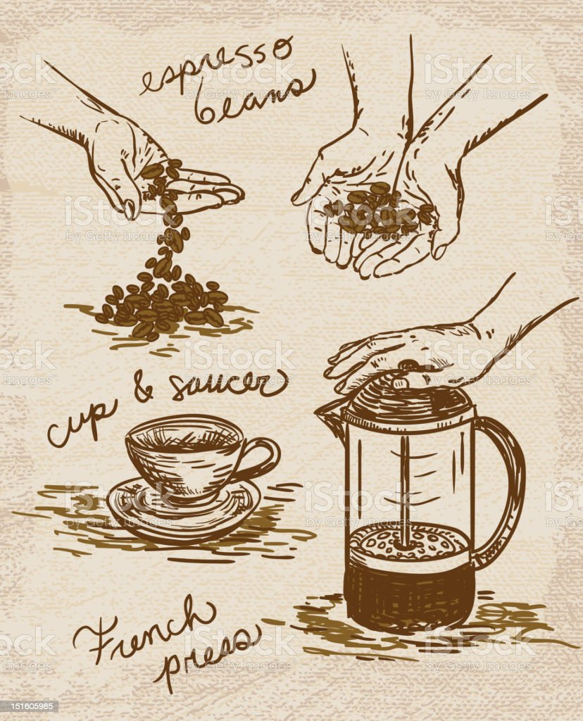 French press and espresso beans with hands vector art illustration