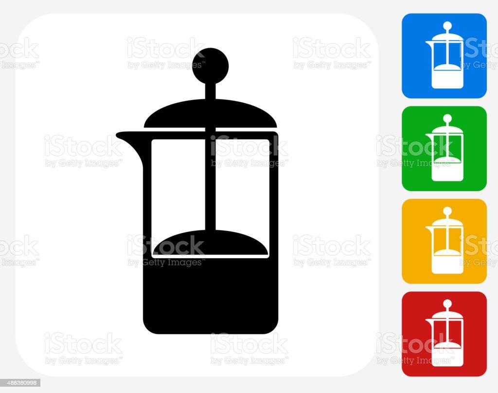 French Press Coffee Maker Icon Flat Graphic Design vector art illustration