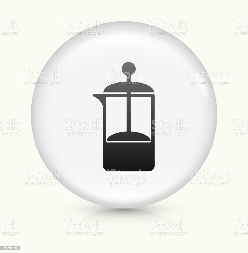 French Press Coffee Maker icon on white round vector button vector art illustration