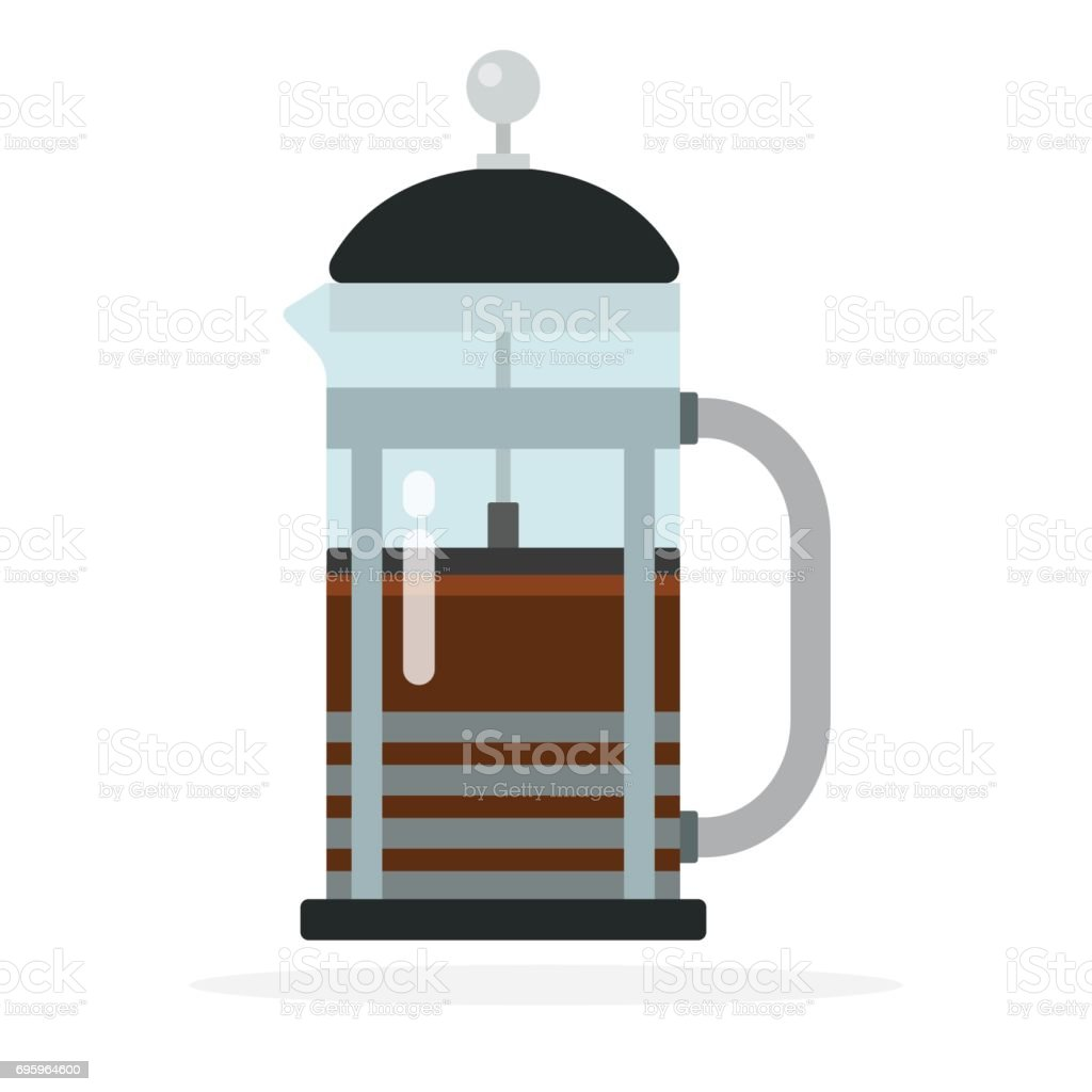 French press coffee maker vector flat isolated vector art illustration