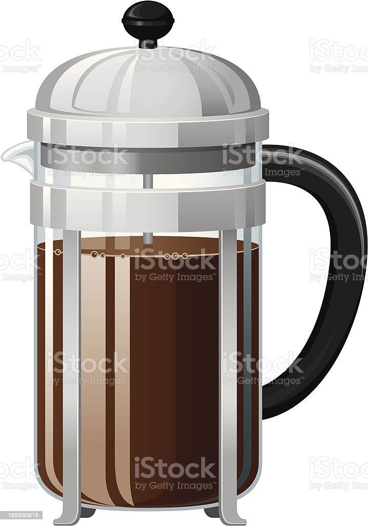 French Pressed Coffee vector art illustration