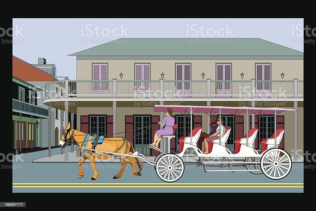 French Quarter with Carriage royalty-free stock vector art