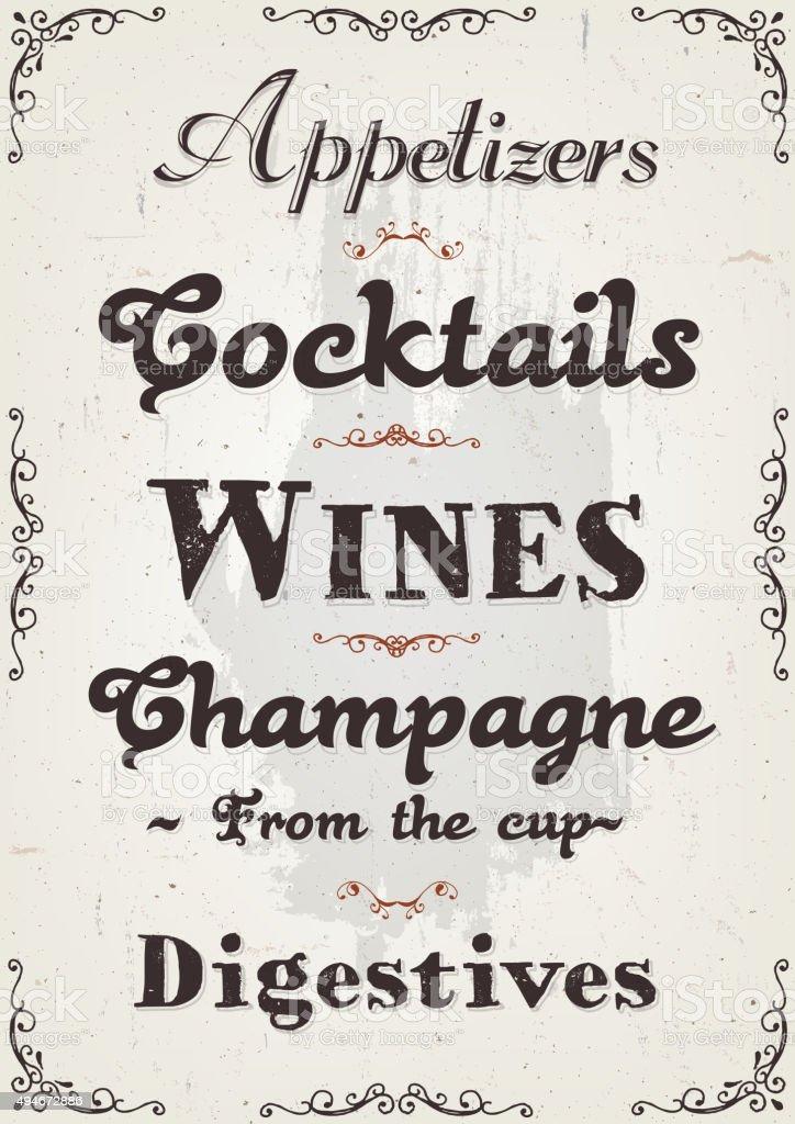 French Restaurant Alcohols And Beverage Background vector art illustration