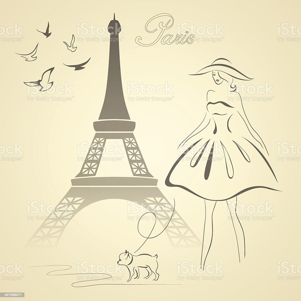 French retro style vector illustration vector art illustration