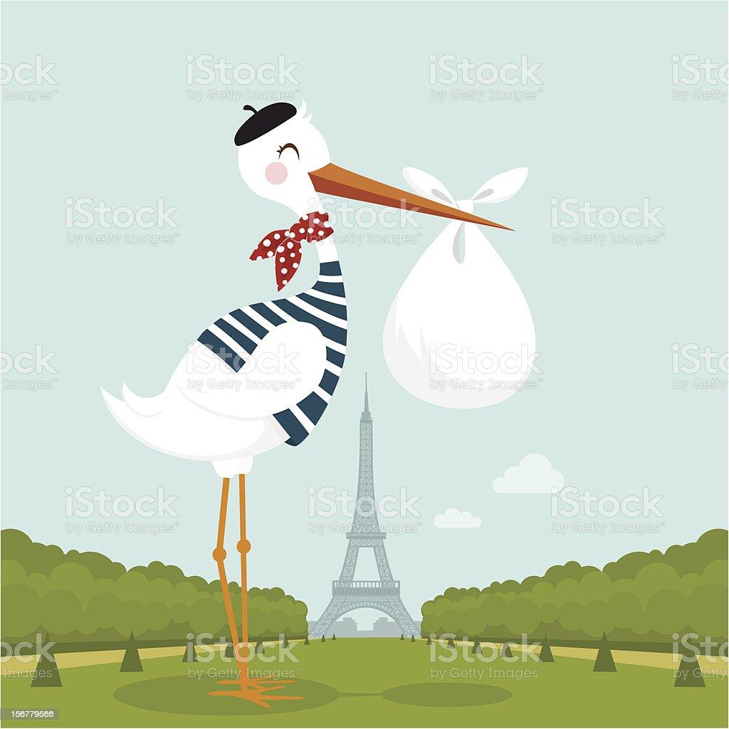 French stork in Paris vector art illustration