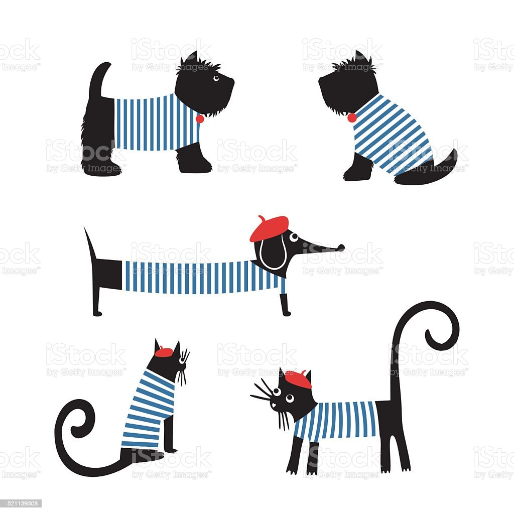 French style animals. Cute cartoon parisian dachshund, cat, scottish terrier. vector art illustration