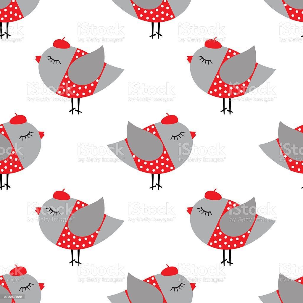 French style birdie girl seamless pattern on white background. vector art illustration