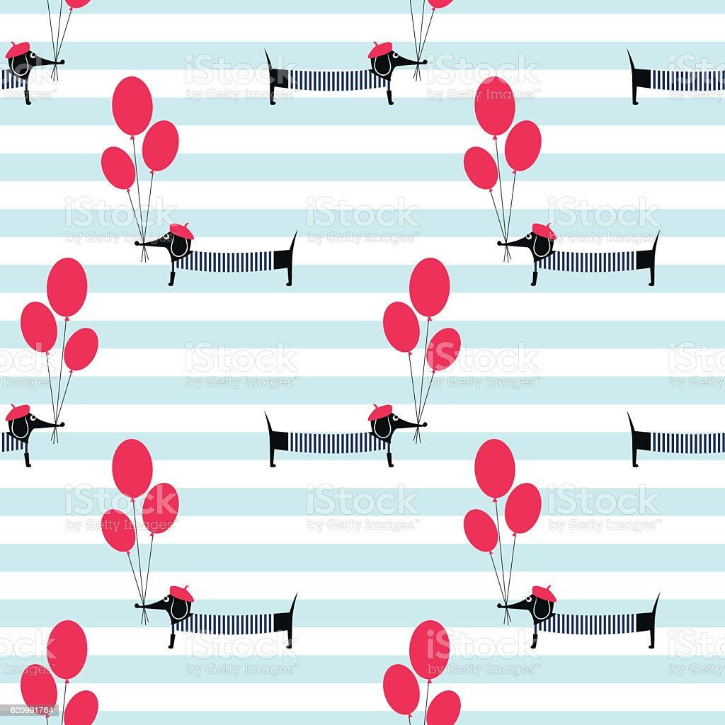 French style dog holding balloons seamless pattern on striped background. vector art illustration