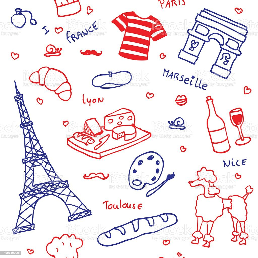 French symbols and icons seamless pattern vector art illustration