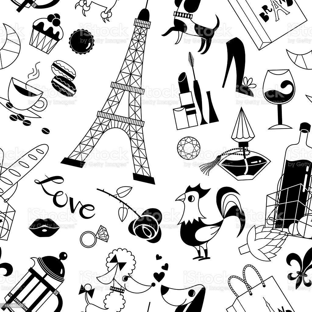 French Symbols Pattern vector art illustration