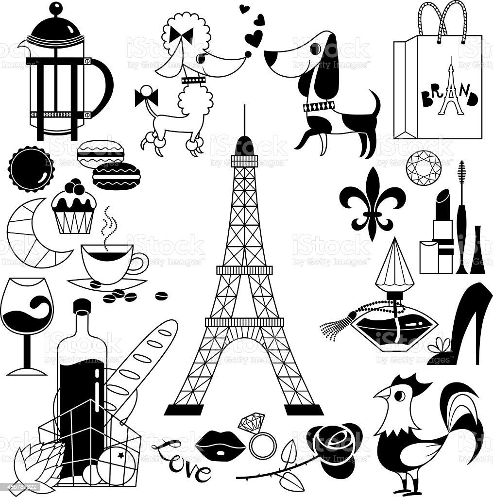 French Symbols vector art illustration