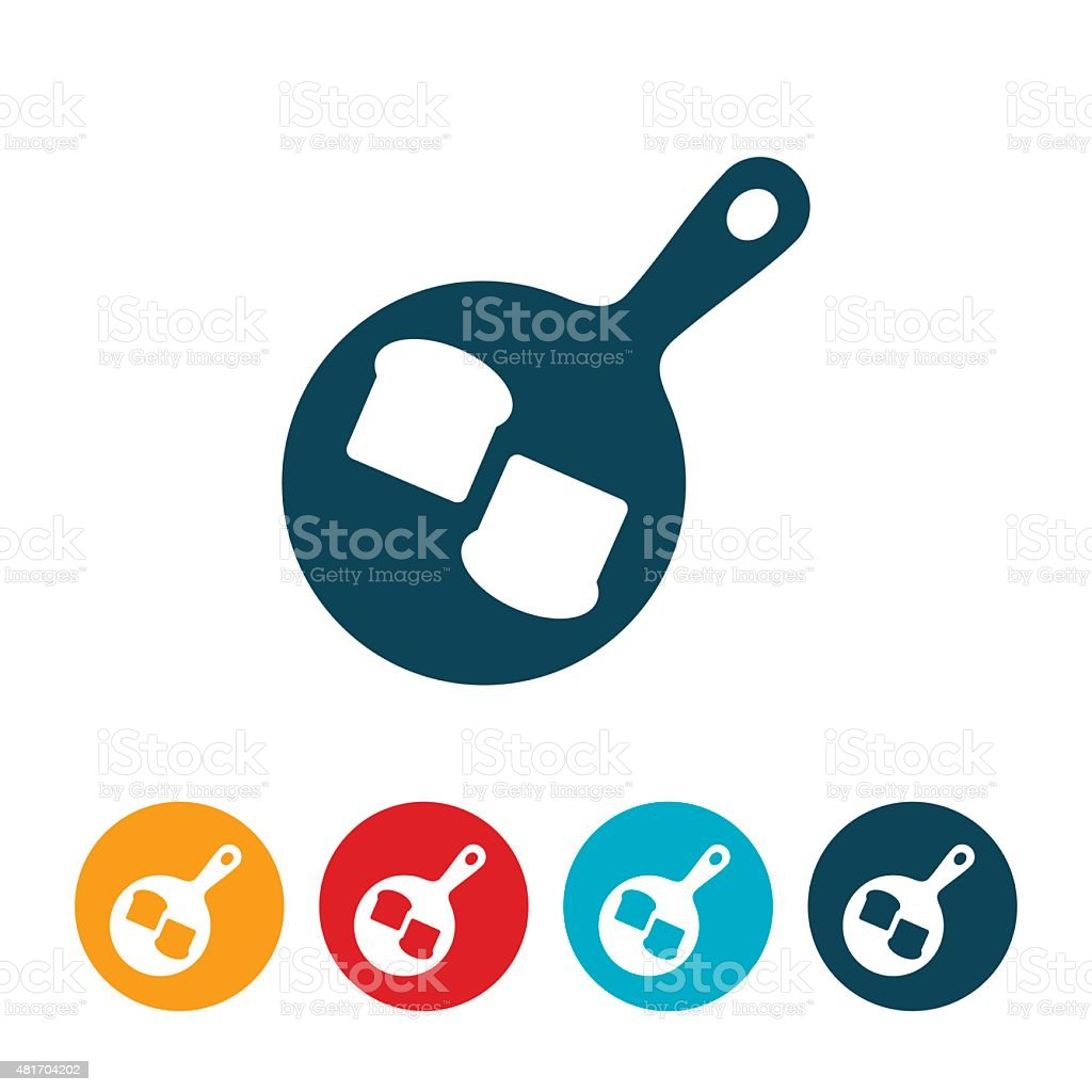 French Toast In Pan Icon vector art illustration