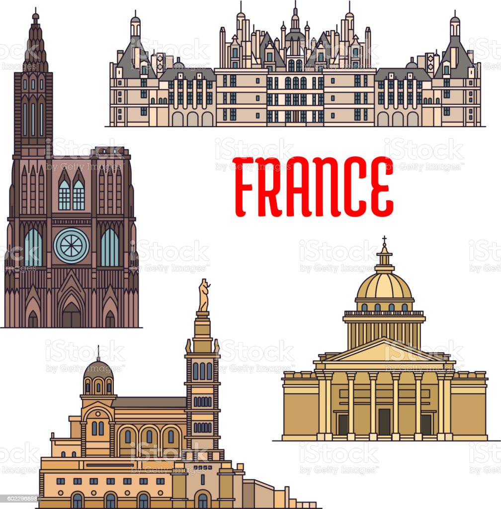 French travel sights icon in thin line style vector art illustration