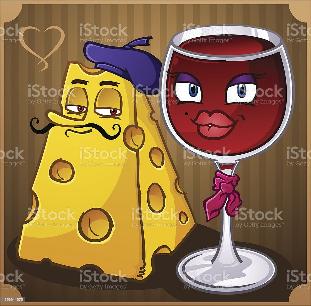 French Wine and Cheese vector art illustration