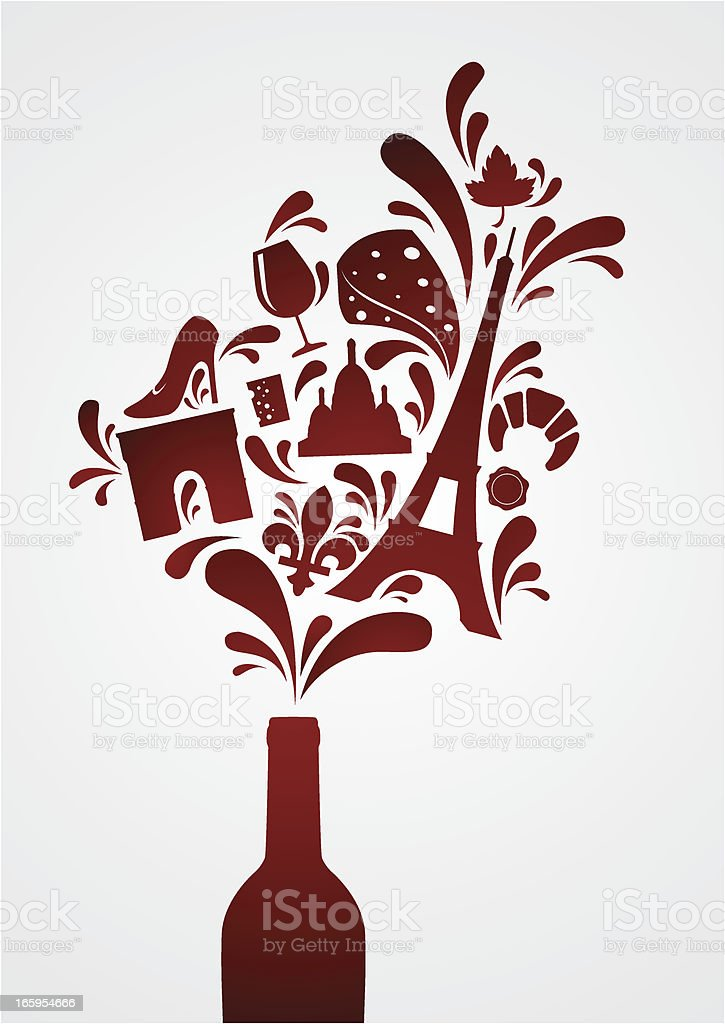 French wine vector art illustration