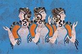 Fresco Three Minoan Women Knossos