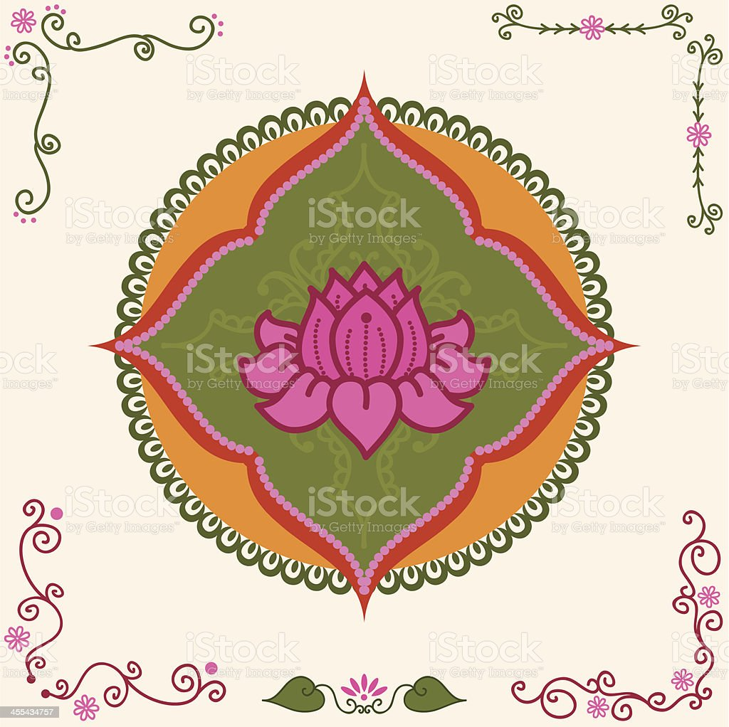 Fresh Air Lotus Medallion vector art illustration