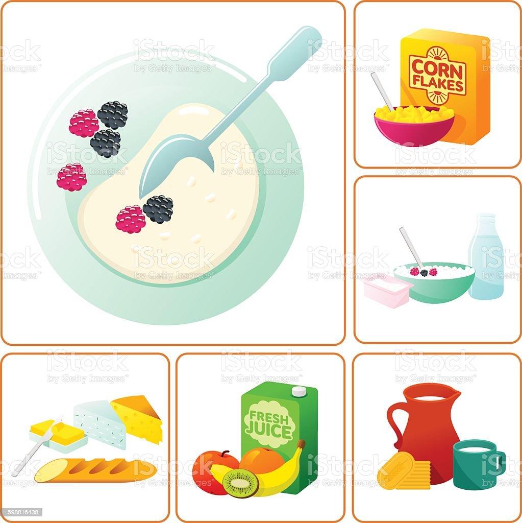 fresh and healthy breakfast vector art illustration