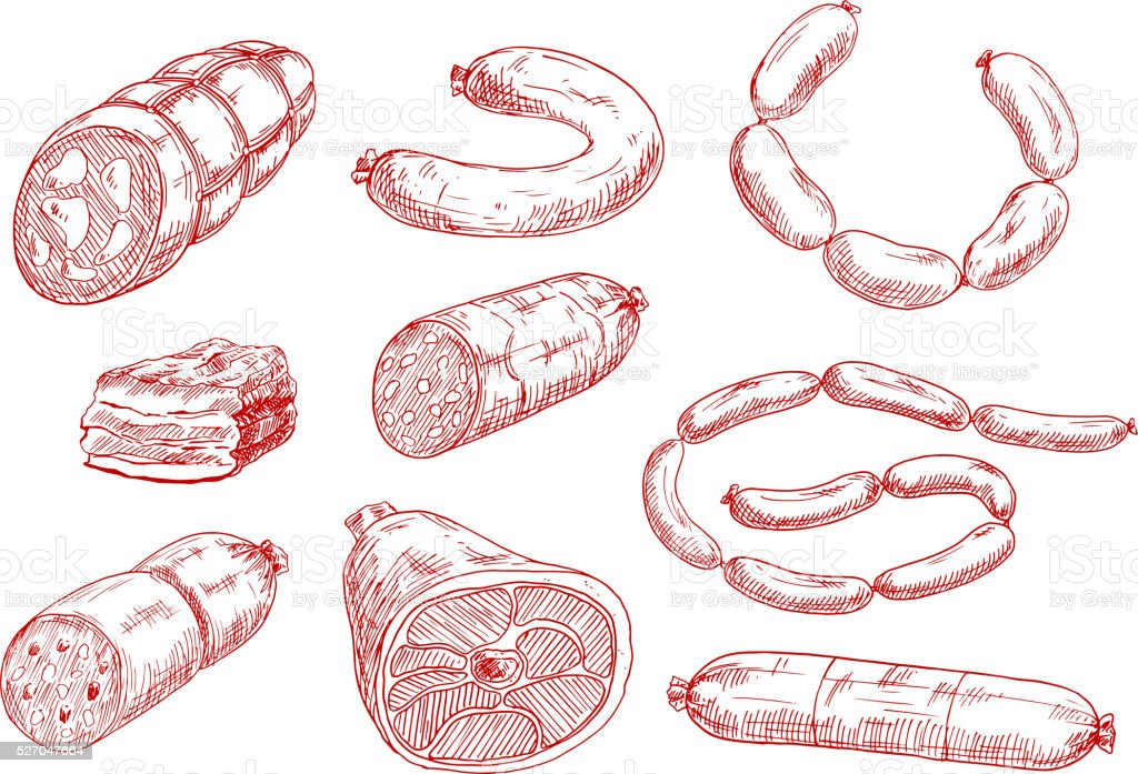 Fresh and tasty meat products red sketch icons vector art illustration