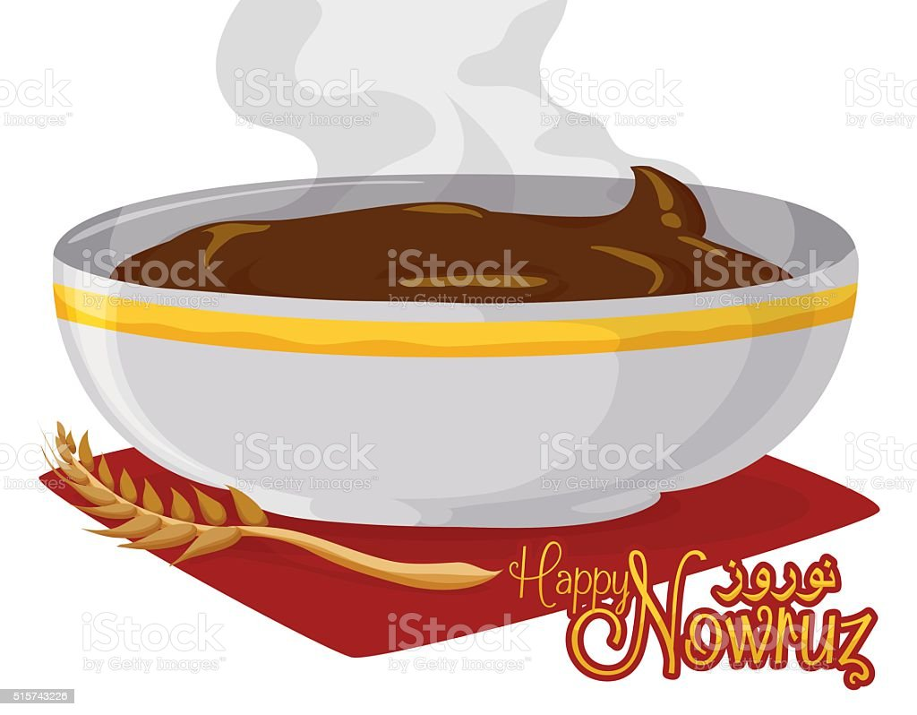 Fresh and Warm Samanu Dessert for Nowruz vector art illustration