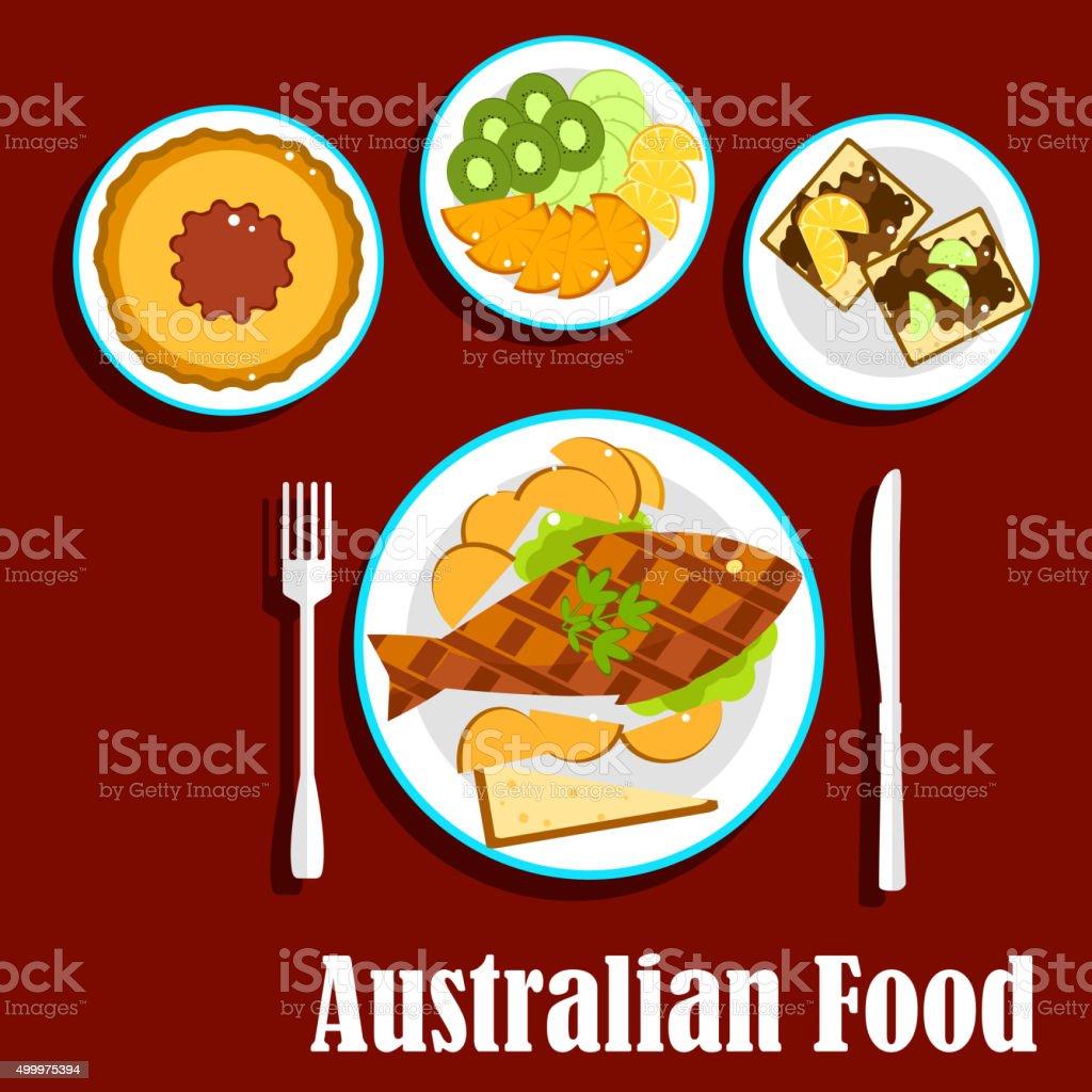Fresh australian cuisine dishes, flat style vector art illustration