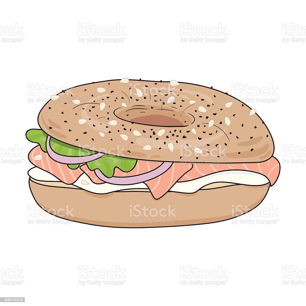 Fresh bagel sandwich with cream cheese and salmon. vector art illustration