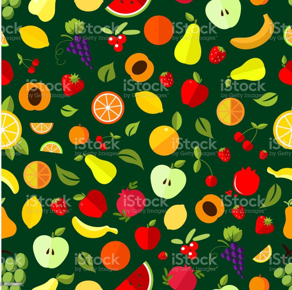 Fresh berry and fruit seamless pattern vector art illustration