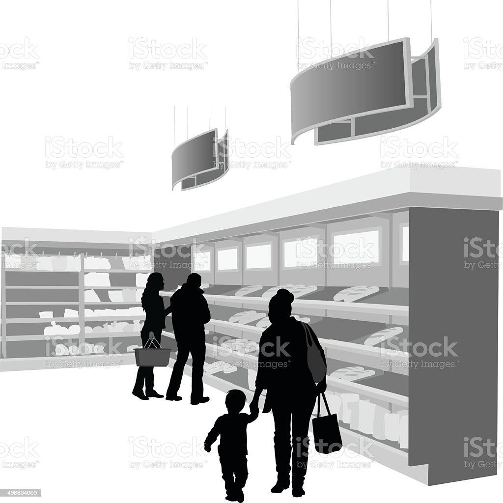 Fresh Bread Grocery Section vector art illustration