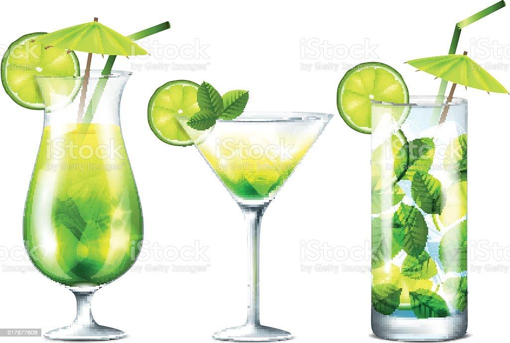 Fresh cocktails vector art illustration