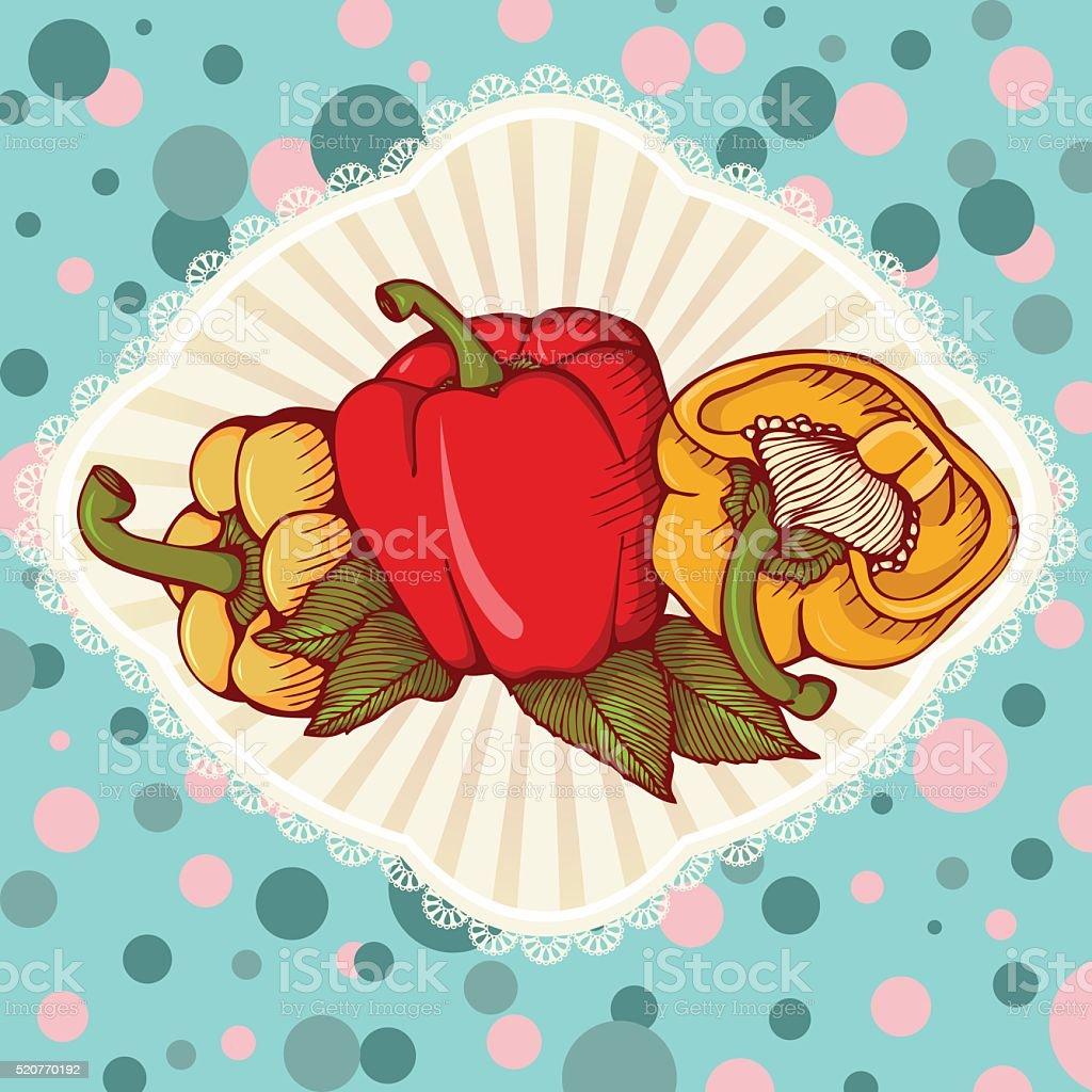 Fresh colored yellow, red, orange sweet bulgarian bell peppers, vector art illustration