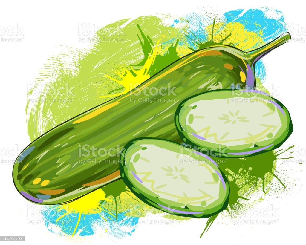 Fresh cucumber royalty-free stock vector art