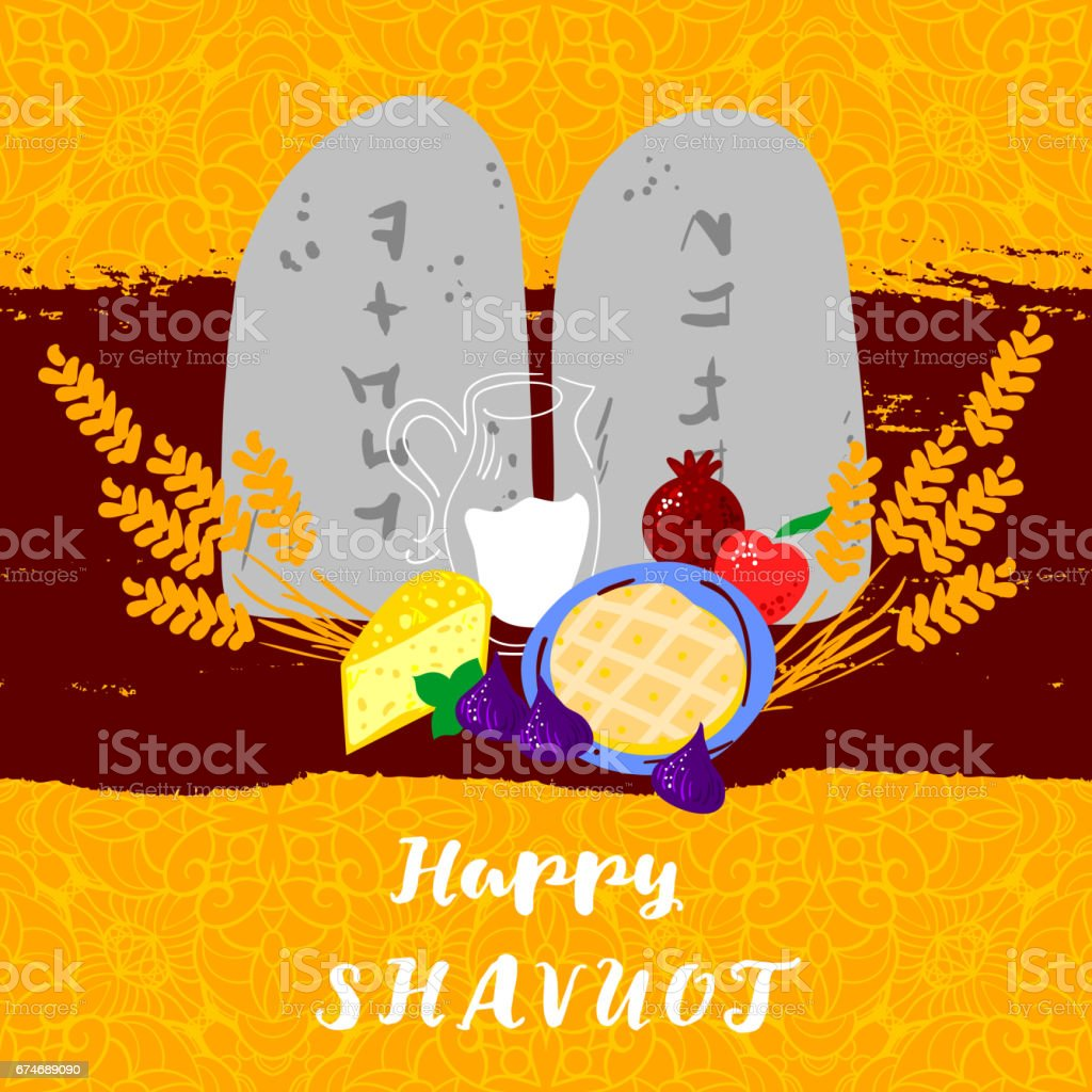 Fresh dairy products Concept of Judaic holiday Shavuot. Happy Shavuot in Hebrew. Israel holiday vector art illustration