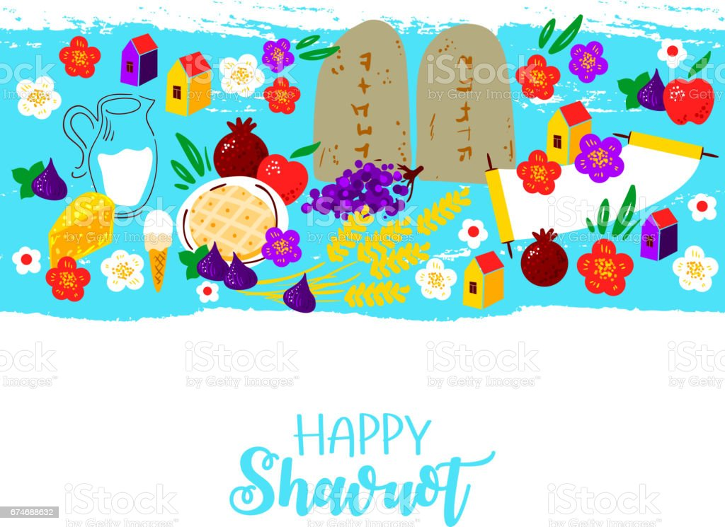 Fresh dairy products (milk, cheese), wheat, fruits (apple, pomegranate, figs), cheesecake, Ten Commandments, torah, flowers. Concept of Judaic holiday Shavuot. Happy Shavuot. Israel holiday vector art illustration