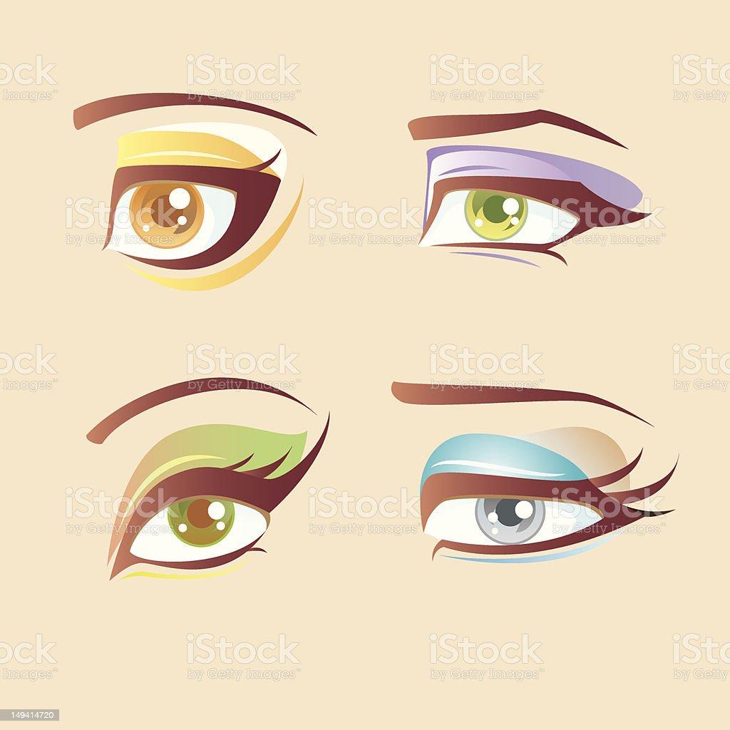 Fresh eyes makeup set vector art illustration